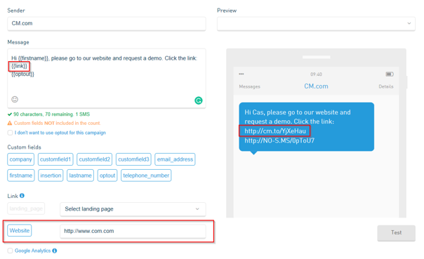How to use URLs in SMS Campaigns? | CM Help Center